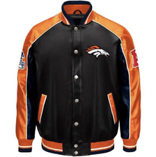 Denver BRONCOS NFL Faux Leather Varsity Jacket ~ XL