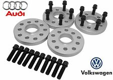4 Audi VolksWagen Wheel Spacers 57.1 Center Bore + 20 14x1.5 Black Lug Bolts