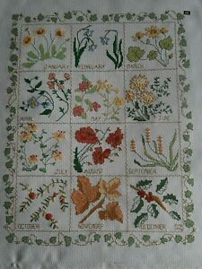Flowers of the Month large completed cross stitch embroidered picture