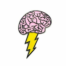 Lightning Brain Nerdy Inspired Art Enamel Hat Pin Bag Lapel