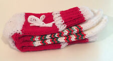 Handmade Colorful Christmas Winter Socks Gift Child's One Size Red & White - New