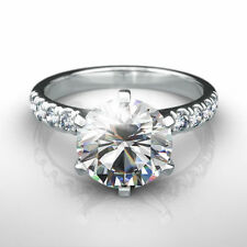 3 1/2 CARAT DIAMOND RING ROUND F SI1 SOLITAIRE ACCENTED 14 K WHITE GOLD 6 PRONG