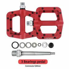 """Bike Pedals Bicycle Bearing Wide Nylon Pedals MTB BMX 9/16""""  Red,HIEGOO"""