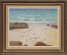 SIR ERIK LANGKER (1898-1982) RARE Original LARGE oil Beach NSW c1950 Sydney Long