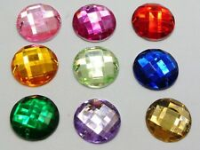 100 Mixed Color Round Flatback Acrylic Sewing Rhinestone Button 16mm Sew on bead