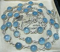 "Vintage Style Sterling Silver Bezel Set Blue Chalcedony Gem Stone 18"" Necklace"