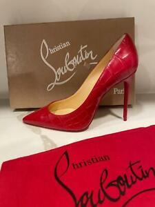 Christian Louboutin KATE 100 Croc Leather Heels Pumps Shoes Loubi Red $795