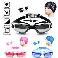 Men Women Non-Fogging Anti UV Swimming Goggle Bundle Swim Cap,Ear Plug,Nose Clip