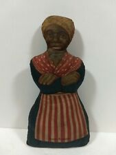 Rare Antique Vintage 1900'S Aunt Jemima Family Cloth Rag Doll Unique Blue Dress