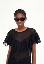 Zara Black Mesh Sheer Top With Lace Frill Ruffled Size S 3184/008 Contrasting