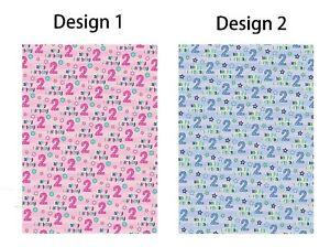 2 x 2nd Birthday Wrapping Paper Sheets/ Age 2 Giftwrap Boy Blue / Girl Pink (PA)