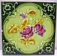 TILE ENGLAND VINTAGE PURPLE ROSE ART NOUVEAU MAJOLICA ARCHITECTURE COLLECTIB#172