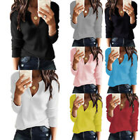 Womens Plain V Neck Jumper Sweater Long Sleeve T-Shirt Pullover Loose Fit Tops