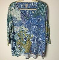 Chico's Women's Top Size 2 (Large, 12) V-Neck 3/4 Sleeves Paisley Floral Casual