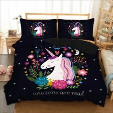 Unicorn Boys Girls Duvet Cover with Pillow Cases Bedding Set Single Double King