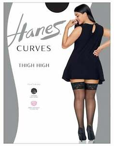 Hanes Thigh High Lace Curves Sandlefoot Smooth SIlky 20 Denier Plus Sizes Womens