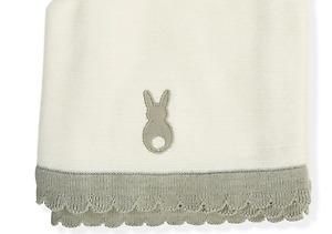 Little Bunny Design Cotton Knit Baby Pram Blanket / Throw - Cream