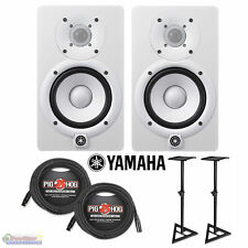 """Yamaha HS5W 5"""" Powered Studio Monitors (White) w/ 2 XLR 25' cables and pair of s"""