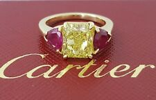 Cartier 3.76 ct 18K Gold Fancy Instense Yellow Diamond & Ruby Engagement Ring