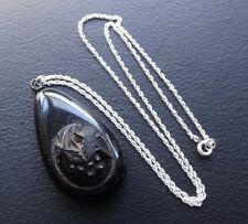 antique Victorian whitby jet grape fruit cameo pendant silver chain necklace 218