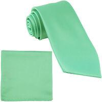 New Polyester Men's Neck Tie & hankie solid formal wedding prom aqua green