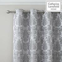 Catherine Lansfield Damask Jacquard Eyelet Curtains Silver, 66x72 Inch