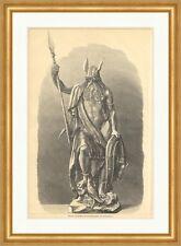 Wuotan, Colossal Statue pour une installation Jardin Odin Dieux Wotan Gravure sur bois E 7142
