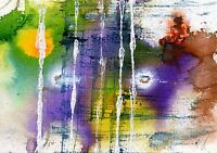 Purple and green  - ink abstract painting unique christmas gift Print ID 769