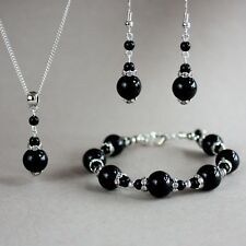 Black silver pearl necklace bracelet earrings wedding bridal jewellery set