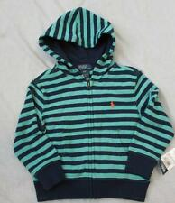 POLO RALPH LAUREN 2T green navy blue striped full zip hoodie french terry NEW