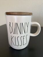 Rae Dunn BUNNY KISSES Large Letter Coffee Mug With Wood Coaster New Free Ship
