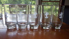 Footed Glass Tumblers Victorian Lady Cameo Design Clear Glass Rimmed Gold 5 12oz