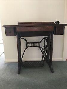 Vintage Sewing Machine Table Treadle Singer