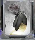 Marmont Hill Handmade Floral Hair Framed Silver Gold Foil Art 11x14 Black Frame