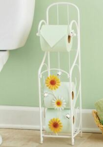 Toilet Paper Holder Tower Daisies and Acrylic Gems Farmhouse Decor NEW