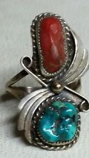 Sterling  turquoise and red coral ring size 8