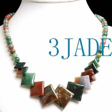 """17"""" Natural Multi-color Moss Agate Beads Necklace"""