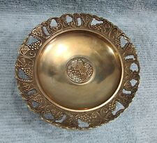 Stamped Grape Bunch Solid Brass Vintage Pedestal Compote Tray 5x10 Dish Free S/H