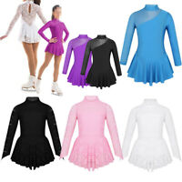 Kids Girls Ice Skating Dress Figure Skating Ballet Leotard Gymnastics Costume