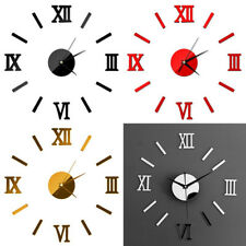 Roman Numeral Acrylic Wall Clock Silent Mirror Effect Living Room DIY Stickers
