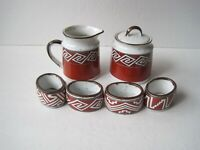 Enesco Mountain & Mesa Sugar And Milk Pot With 4 Napkin Rings