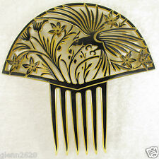 Vintage Faux Tortoiseshell Hair Comb Bird Flower Large Carved 7-5/8 x 8 inch