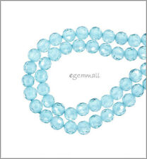 10 Cubic Zirconia Round Beads 4mm Swiss Blue #64275