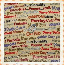 BonEful Fabric FQ Cotton Quilt VTG Yellow Red Feline Cat Kitty Word Stripe B&W S