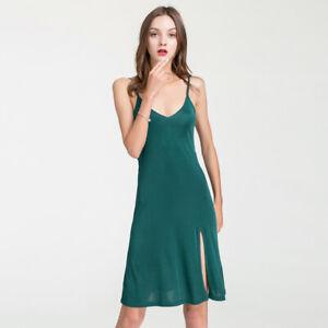 New Silk Knit Slips Womens Sexy Chemise with Side Slit  Sleepwear