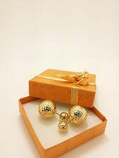 18k Solid Yellow Gold Italian Sparkle Diamond Cut Hollow Ball Earrings 5.62 Gram