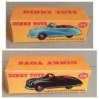 Dinky 106 Austin Atlantic Convertable Empty Repro Box Only