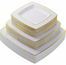 75 Piece White Gold Plastic Disposable Dinnerware Set Plates for 25 Party Guests