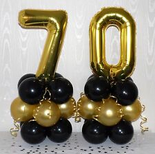 70th BIRTHDAY - AGE 70 - GOLD/WHITE  - FOIL BALLOON DISPLAY - TABLE CENTREPIECE