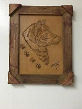 "HAND TOOLED LEATHER ART, WOLF FACE ,FRAMED,10""X8"",HAND CRAFTED DECOR,ART,WALL #2"